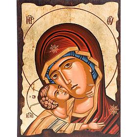 Icona Madre di Dio della tenerezza veste rossa s1