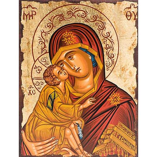 Icône religieuse Mère de Dieu de la tendresse manteau rouge 1