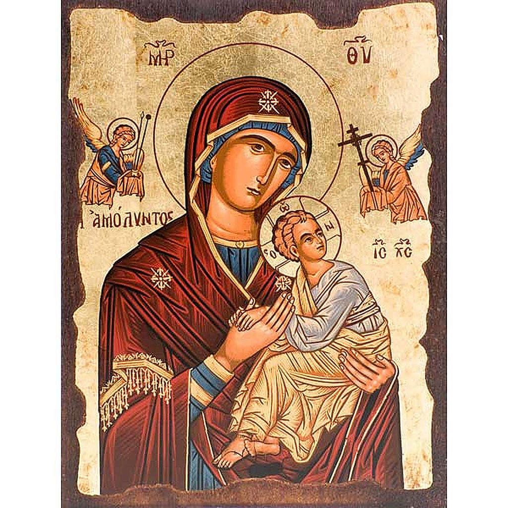Icona Madre di Dio della passione manto rosso Grecia 4