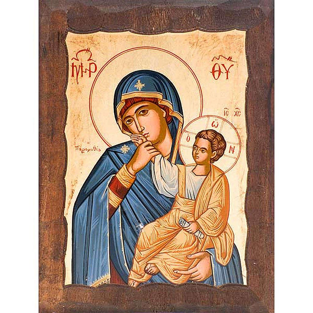 Ícone Mãe de Deus Alegria e Consolo capa azul 4