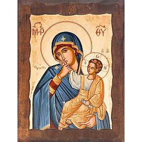 Ícone Mãe de Deus Alegria e Consolo capa azul s1