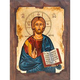 Greek icon, screen printing Christ the Pantocrator s1