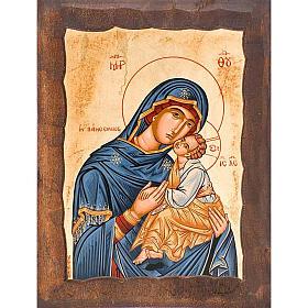 Icona Madre di Dio Eleousa manto blu s1