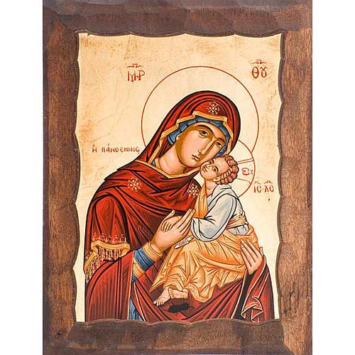 Icona Madre di Dio Eleousa manto rosso 1