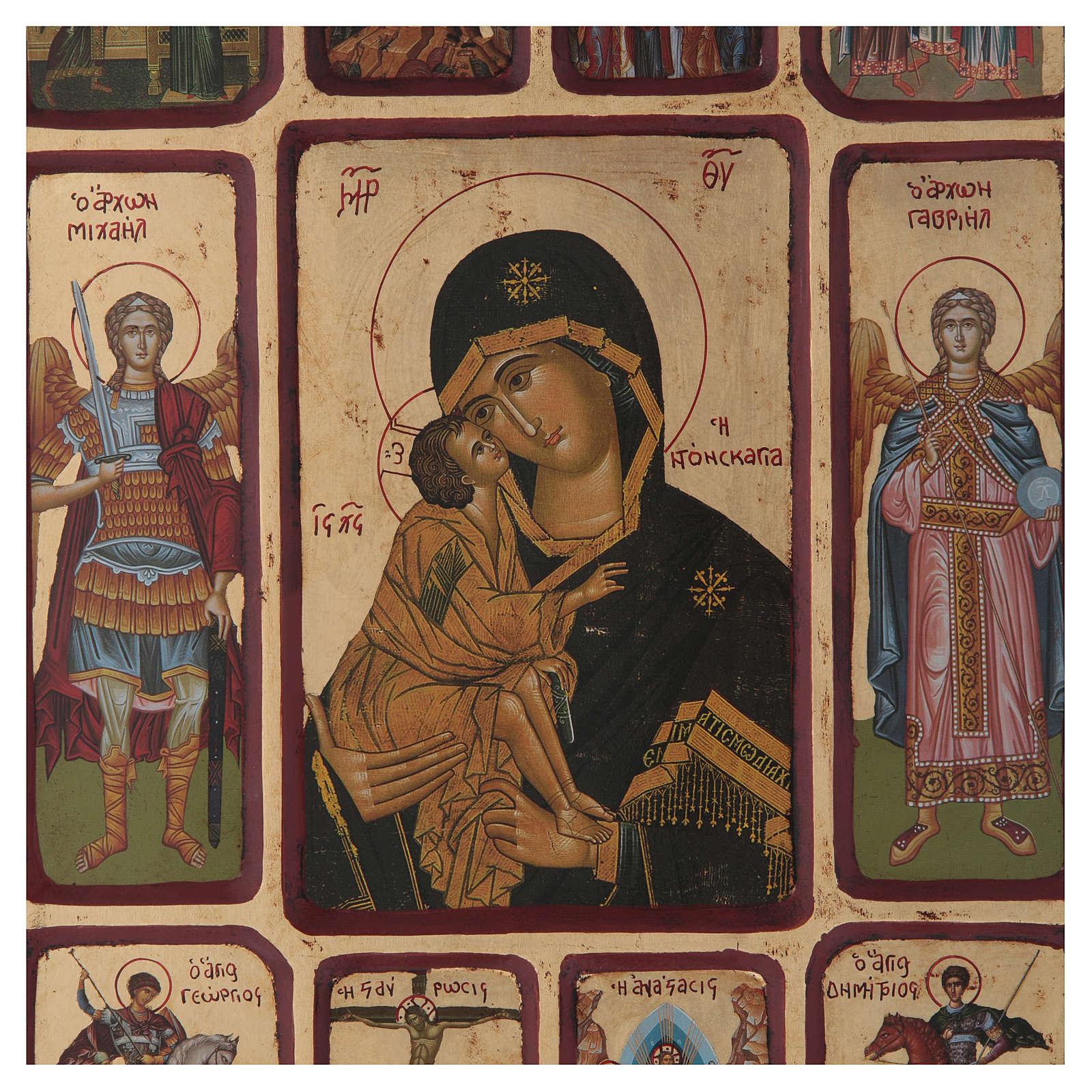 Ícone Vladimirskaya passos da vida de Cristo 4