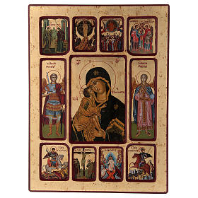 Ícone Vladimirskaya passos da vida de Cristo s1