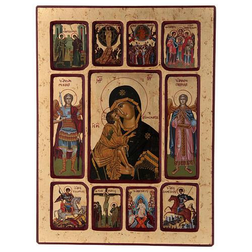 Ícone Vladimirskaya passos da vida de Cristo 1