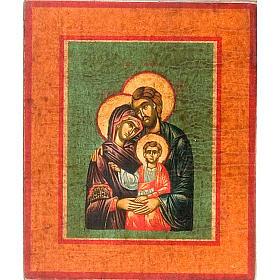 Icona Sacra Famiglia fondo verde marrone s1