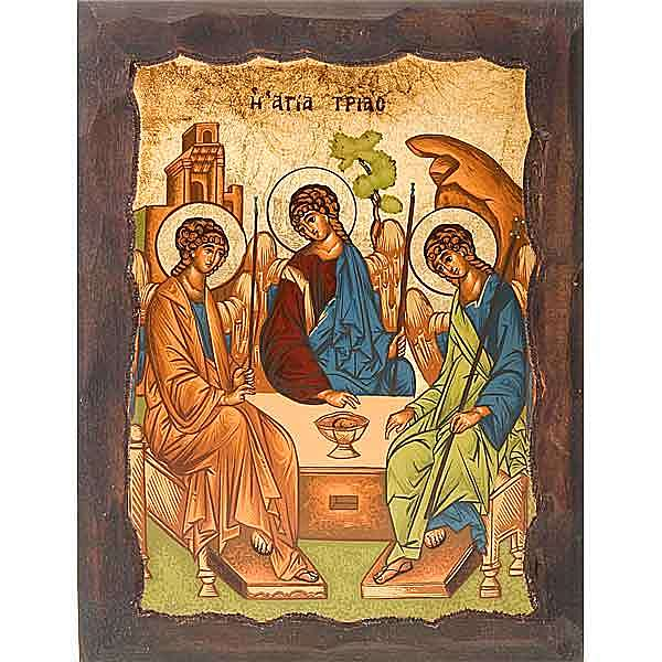 Rublev's Icon of the Holy Trinity with engraved edges 4