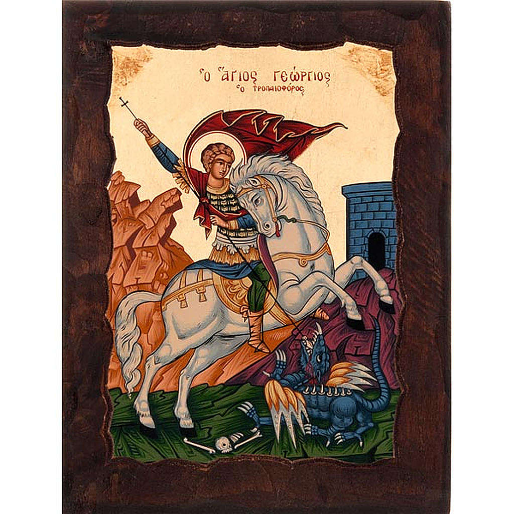 Icon of Saint George with red mantle 4