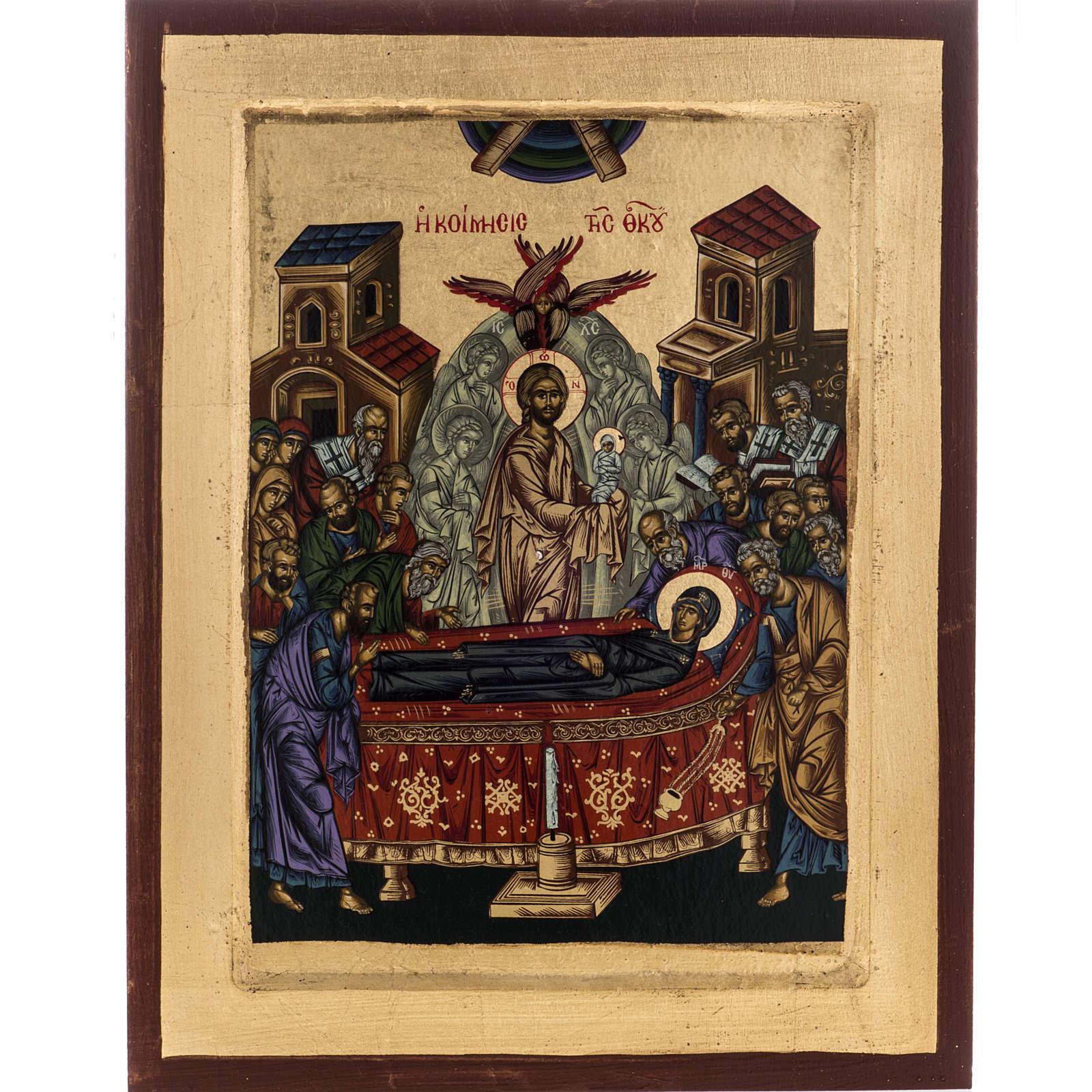 Icona Grecia serigrafia Dormizione di Maria 31x24 4