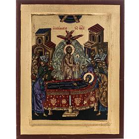 Icona Grecia serigrafia Dormizione di Maria 31x24 s1