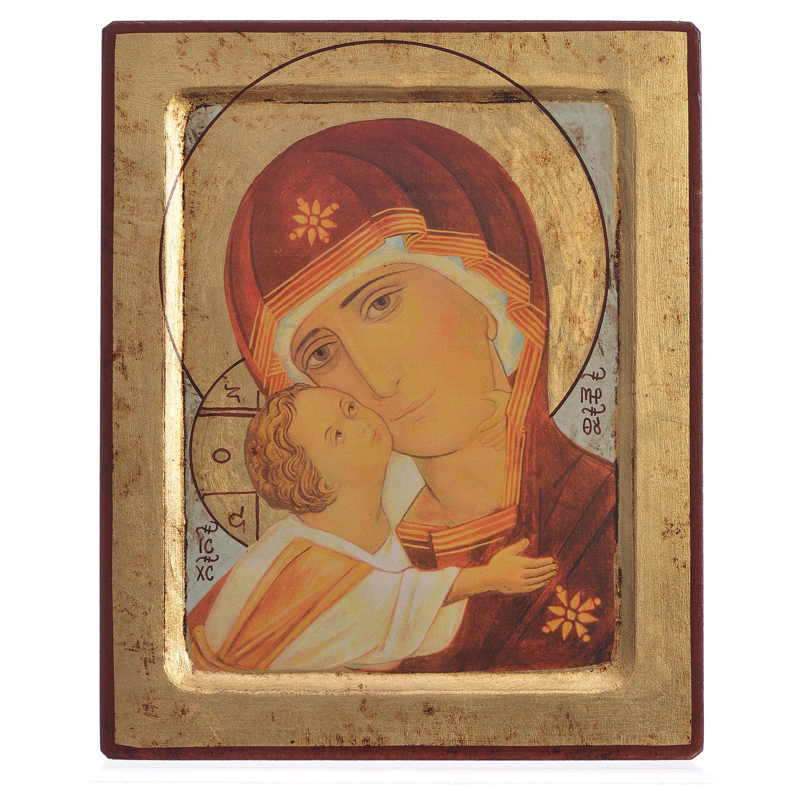 Icona serigrafata Vergine di Vladimir scavata 20x25 4