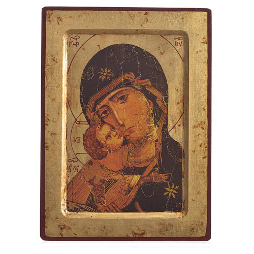 Greek silk-screened icon Mother of Tenderness 25x20 cm 1
