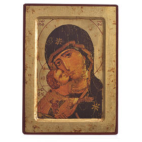Greek silk-screened icon Mother of Tenderness 25x20 cm s1