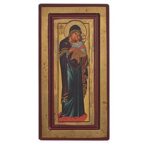 Siebdruck Ikone Gottesmutter vom Kloster Decani 13x24cm 1