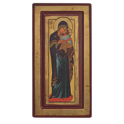 Icona Madonna Decani serigrafia Grecia 13x24 cm 1