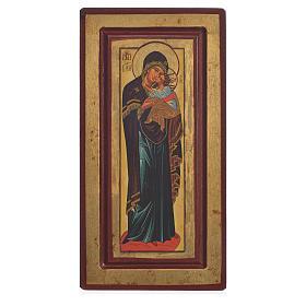 Ícone Nossa Senhora Decani serigrafia Grécia 13x24 cm s1