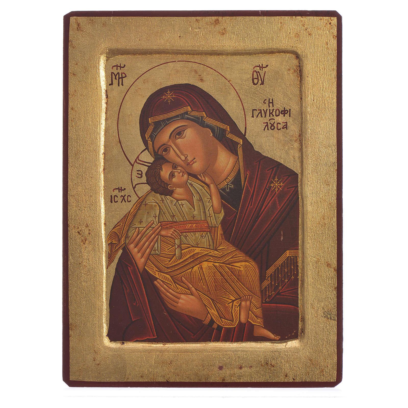 Icona serigrafata greca Madonna della Tenerezza 4