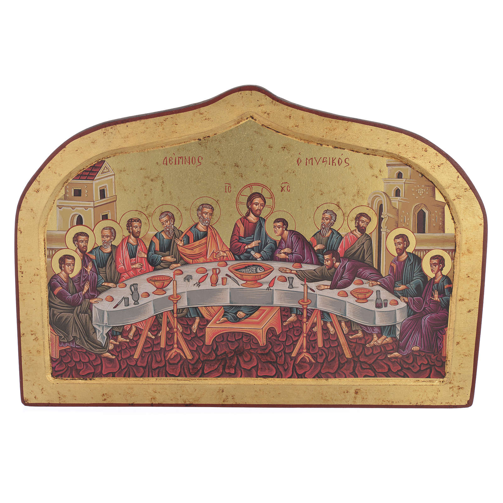 Greek print icon with Last Supper, hand finished 4
