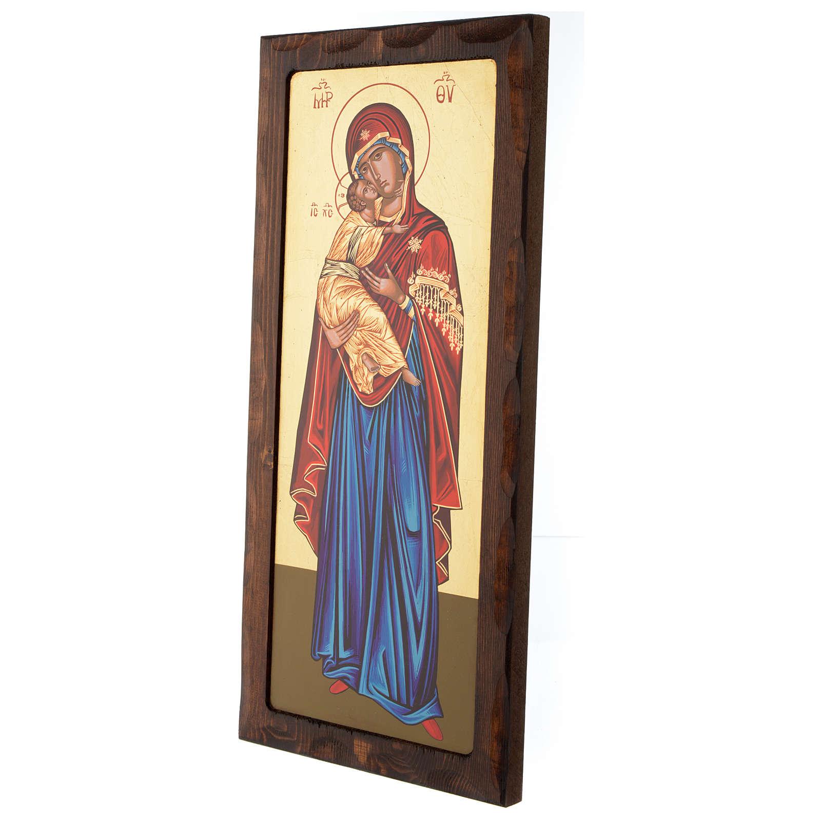 Icona greca serigrafata Vergine Tenerezza 55x25 cm 4