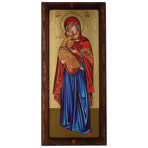Icona greca serigrafata Vergine Tenerezza 55x25 cm 1