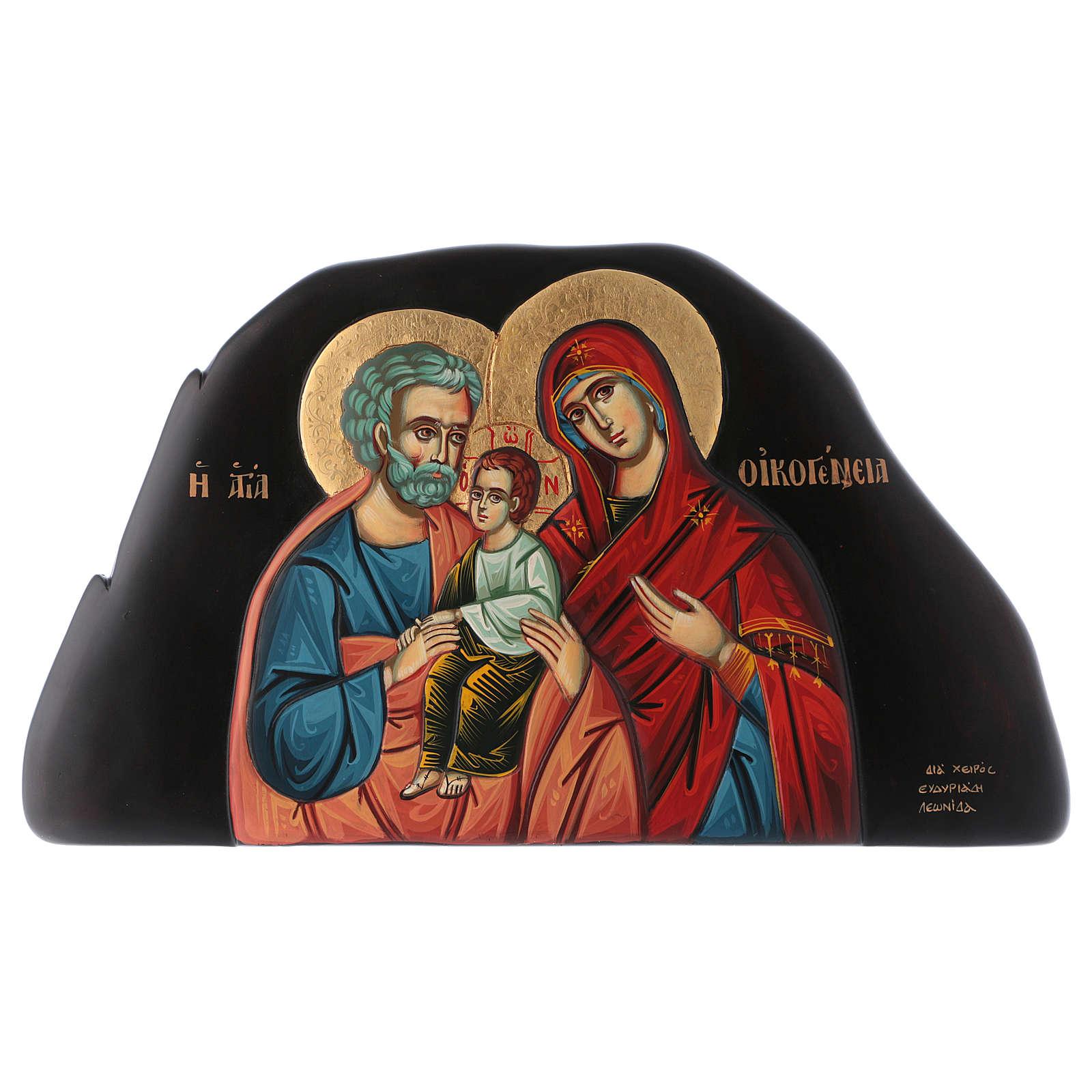 Icona bassorilievo Sacra Famiglia stile bizantino 25x45 cm 4