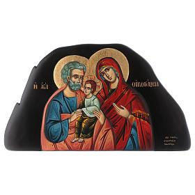 Icona bassorilievo Sacra Famiglia stile bizantino 25x45 cm s1