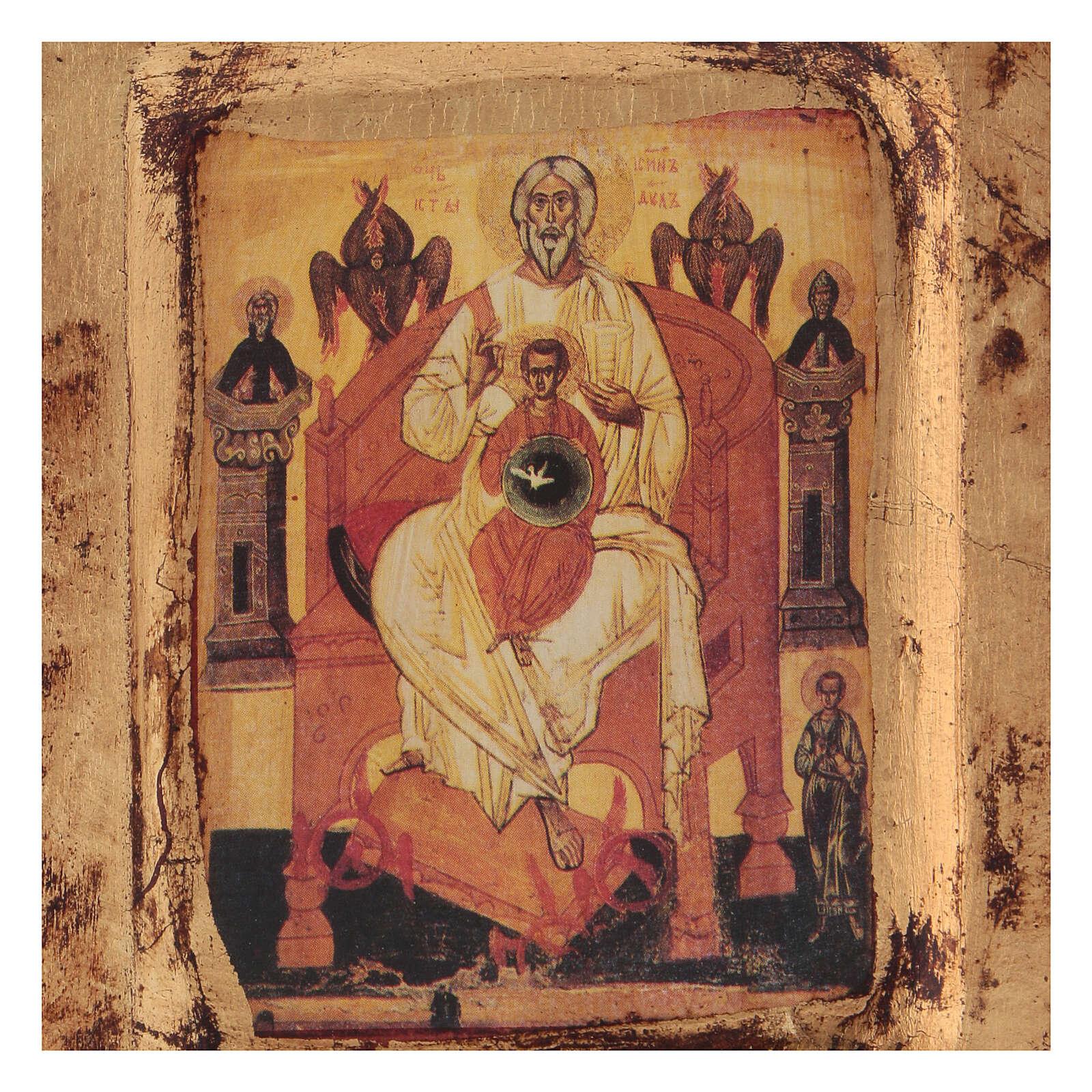 Ícone Trinidade Novo Testamento 14x10 cm Grécia serigrafado 4