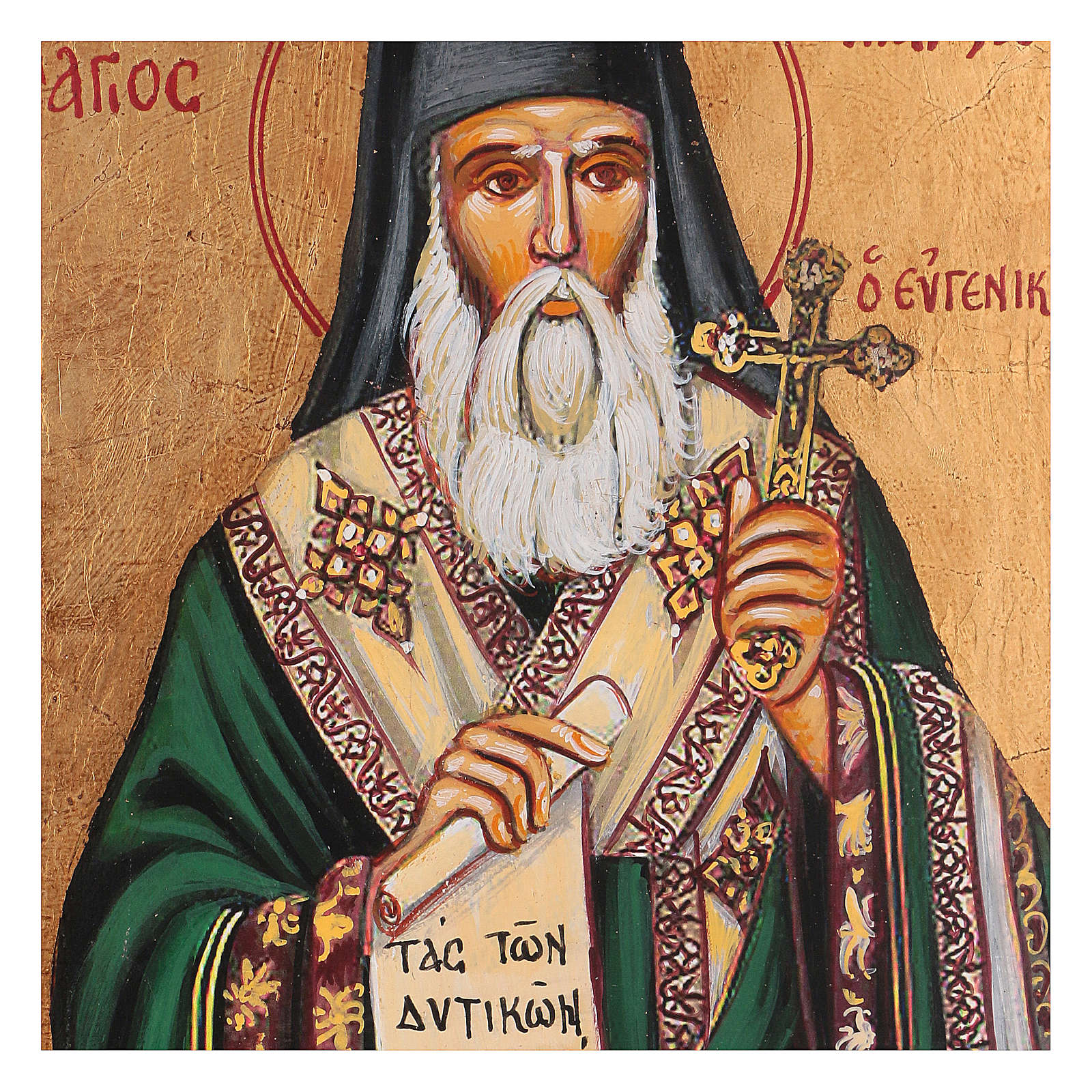 Icona greca dipinta San Marco 22x18 cm 4
