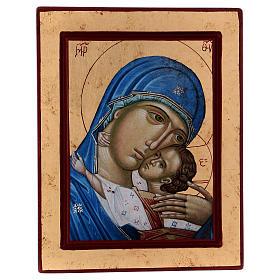 Icona Volto Madonna Tenerezza Bambino Greca in legno 24x18 cm serigrafata s1