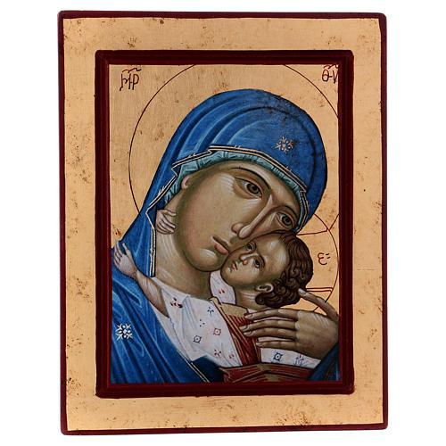 Icona Volto Madonna Tenerezza Bambino Greca in legno 24x18 cm serigrafata 1