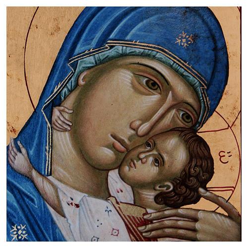 Icona Volto Madonna Tenerezza Bambino Greca in legno 24x18 cm serigrafata 2