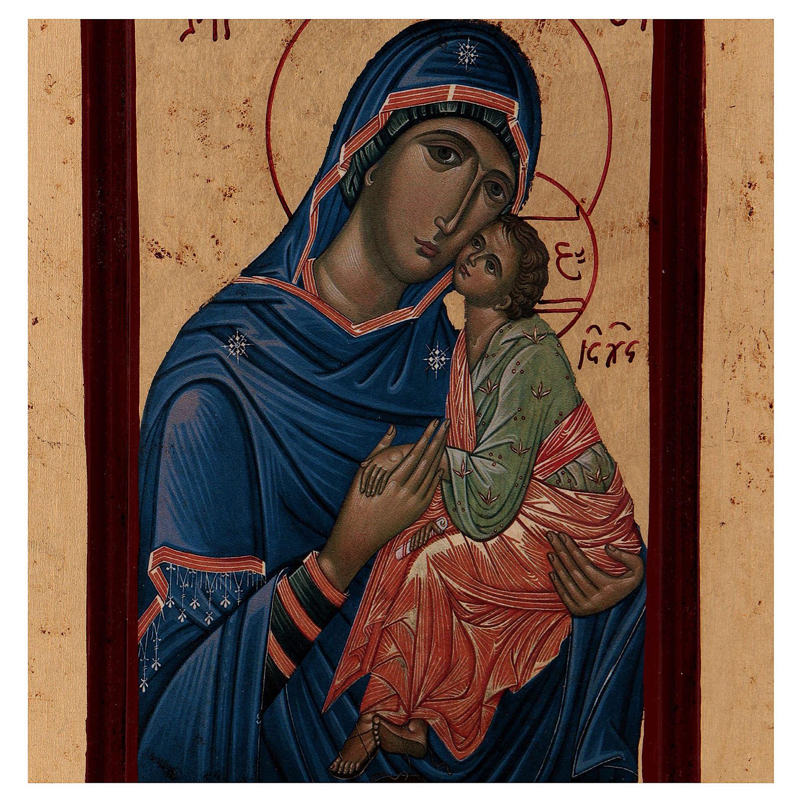 Icona Madonna Tenerezza Greca legno 28x14 cm serigrafata 4