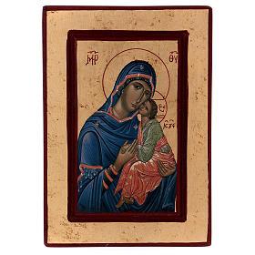 Icona Madonna Tenerezza Greca legno 28x14 cm serigrafata s1