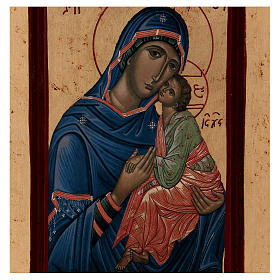 Icona Madonna Tenerezza Greca legno 28x14 cm serigrafata s2