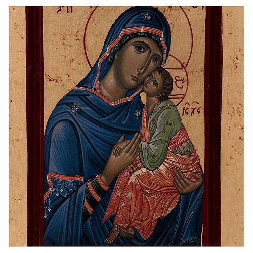 Icona Madonna Tenerezza Greca legno 28x14 cm serigrafata 2