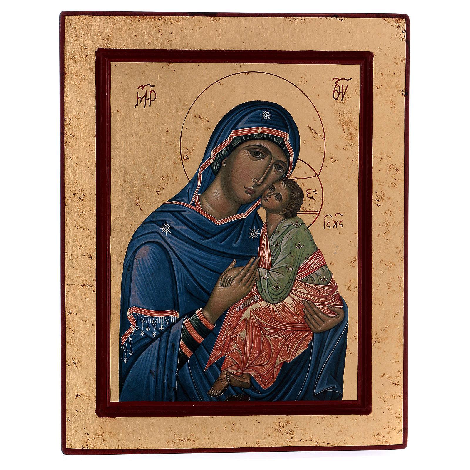 Icona Madonna Tenerezza Greca legno 24x18 cm serigrafata 4