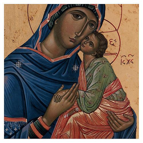 Icona Madonna Tenerezza Greca legno 24x18 cm serigrafata 2