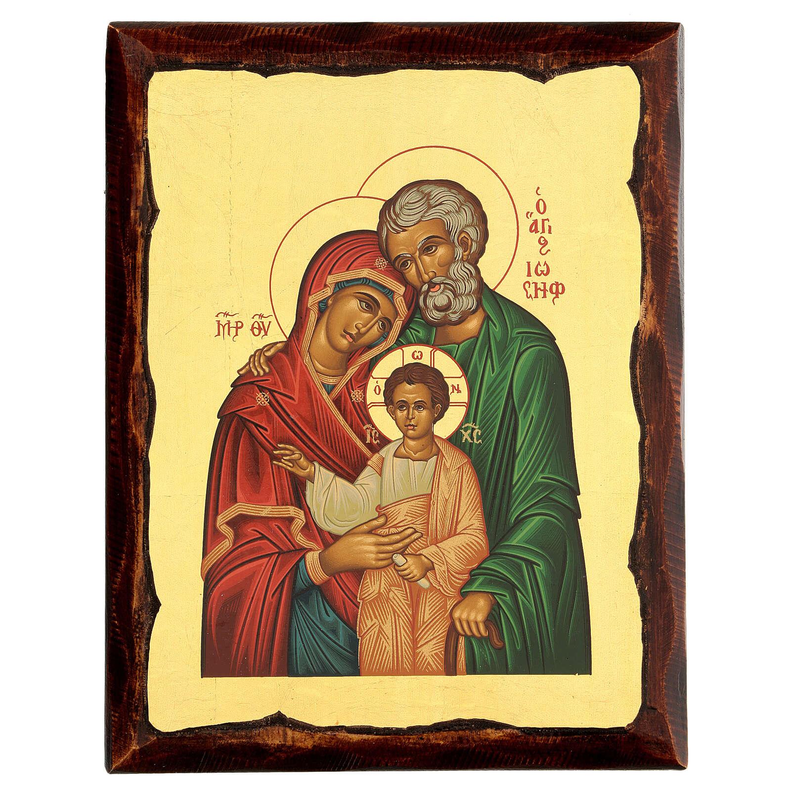 Icono griego serigrafado con Sagrada Familia 25x20 4