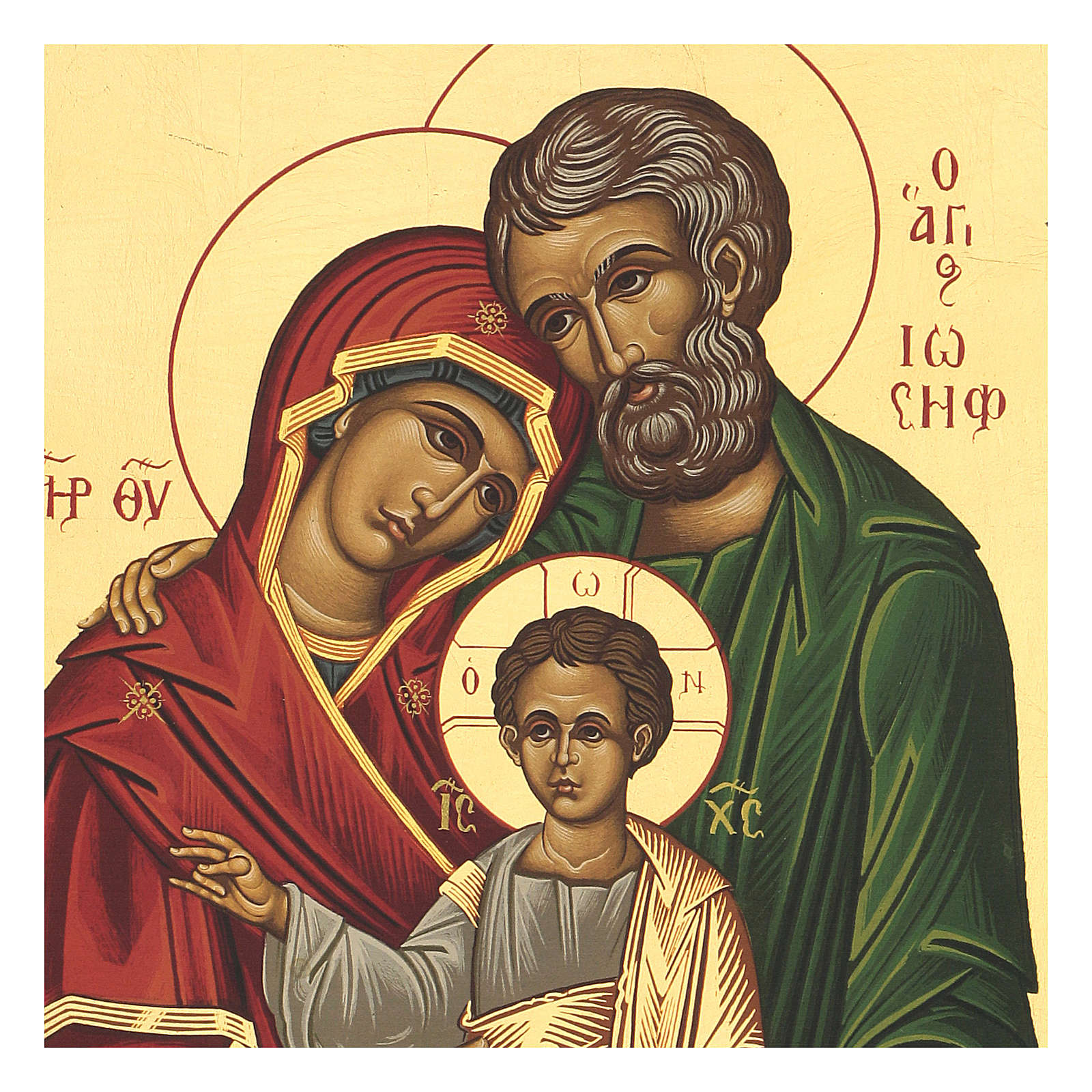 Icona Sacra Famiglia greca 35X25 intagliata serigrafata 4