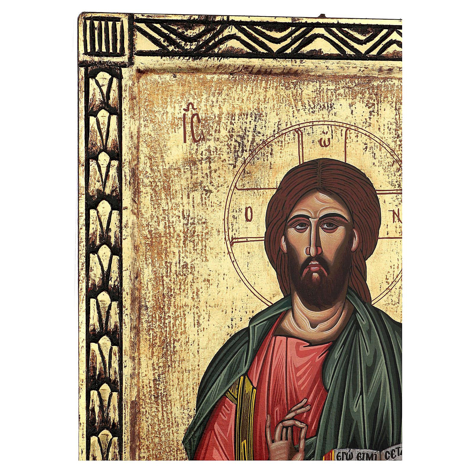 Ícone Cristo Pantocrator bordos esculpidos pintado à mão Grécia 70x55 cm 4