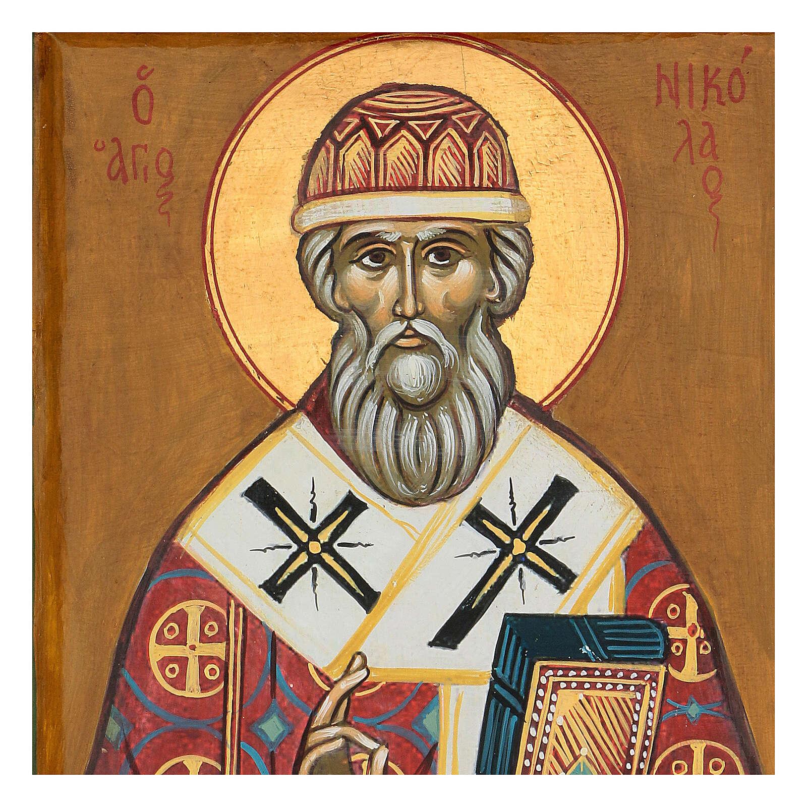 Icona greca San Nicola 35x25 cm dipinta 4