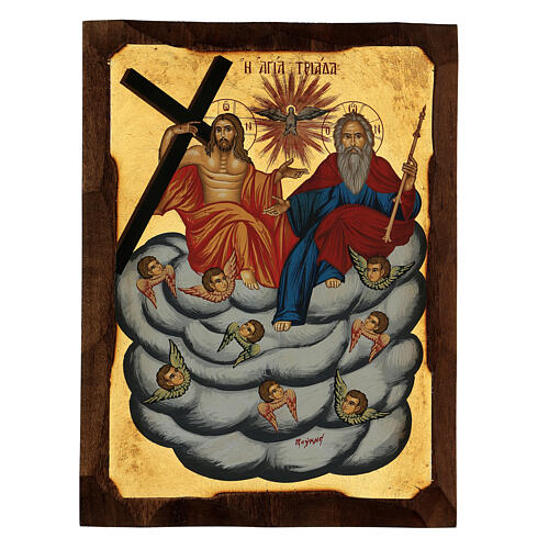 Icona greca Trinità e Angeli serigrafata 30x20 cm 1