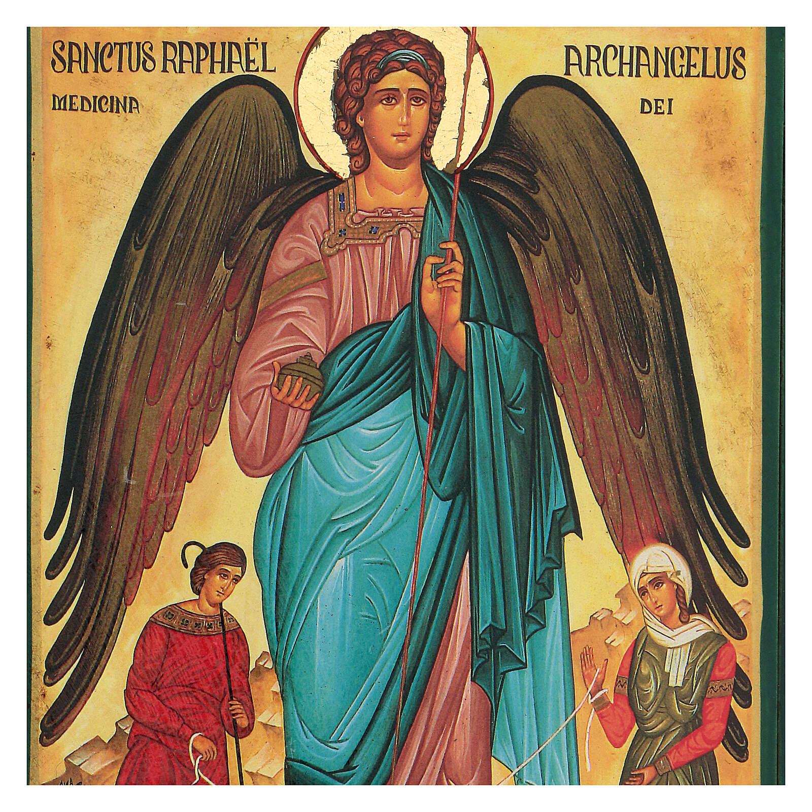 St Raphael the Archangel Greek serigraph icon, 24x18 cm 4