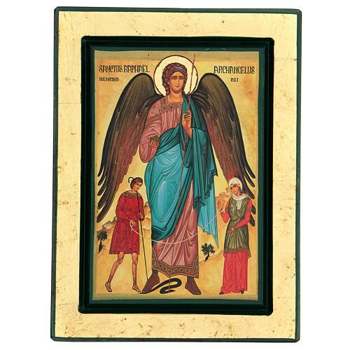 St Raphael the Archangel Greek serigraph icon, 24x18 cm 1
