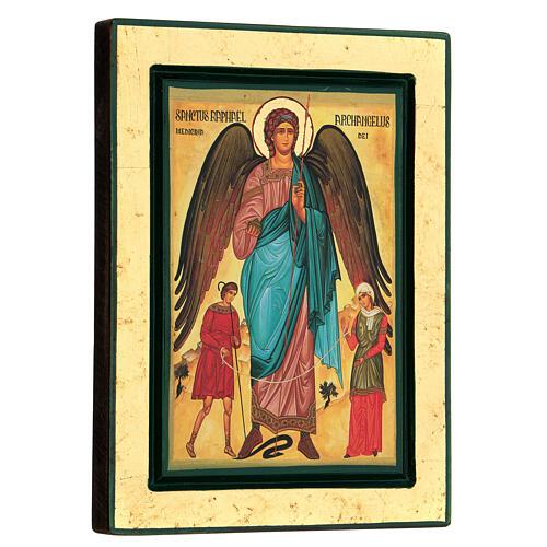 St Raphael the Archangel Greek serigraph icon, 24x18 cm 3