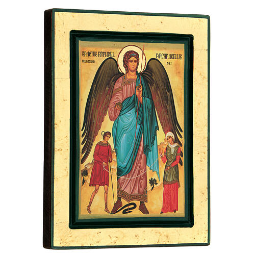 Greek serigraph icon of St Raphael the Archangel, 24x18 cm 3