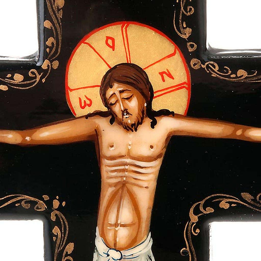 Croce icona dipinta russa 16x11 cm 4