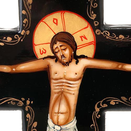 Croce icona dipinta russa 16x11 cm 2